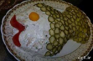 تزیین غذای سالاد الویه