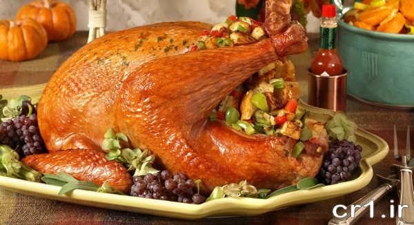 تزیین زیبای مرغ شکم پر