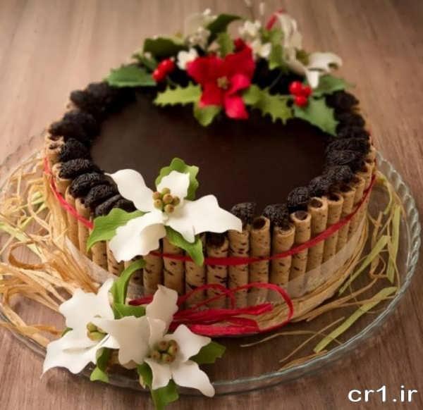 تزیین کیک شکلاتی شیک و زیبا