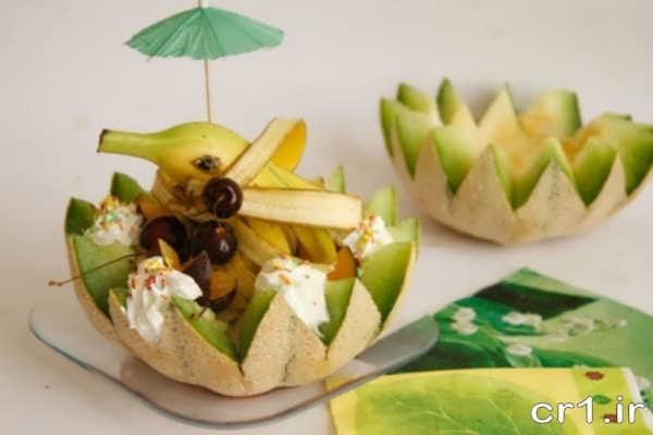 تزیین جدید بستنی با میوه