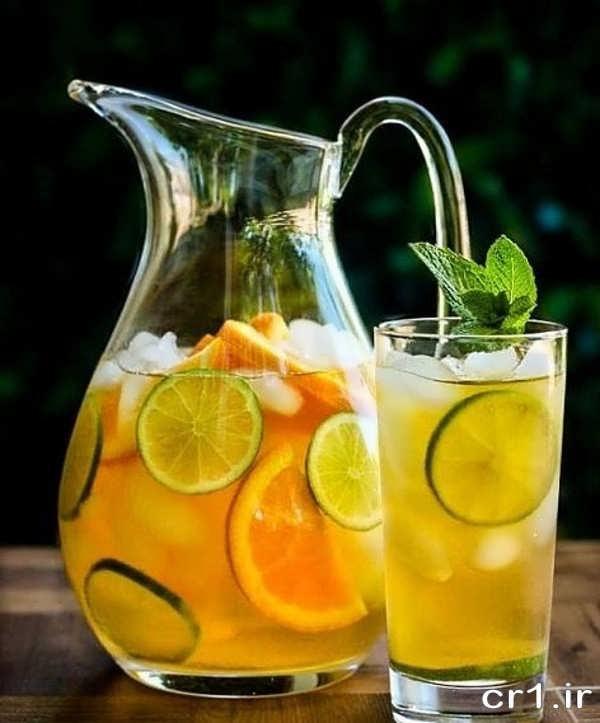 تزیینات لیوان شربت با لیمو