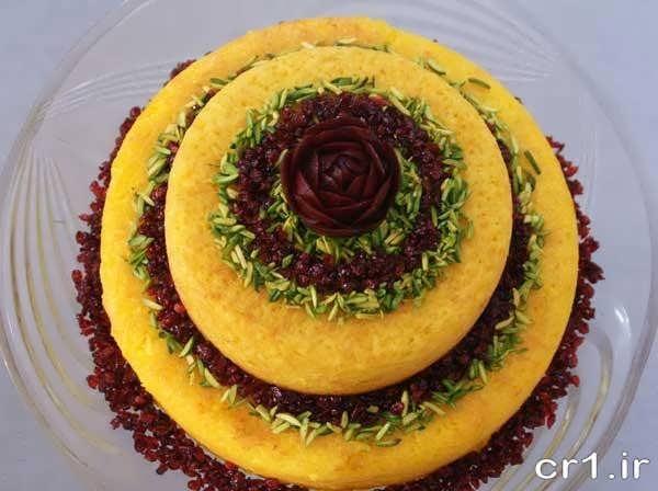 ته چین قالبی به شکل کیک