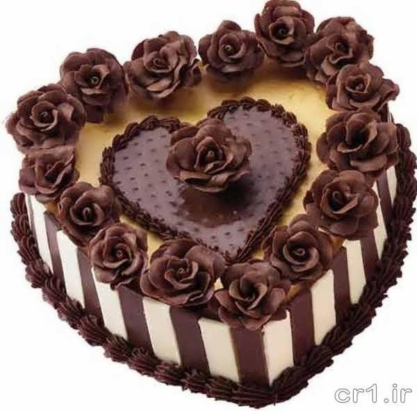تزیین کیک قلبی با شکلات