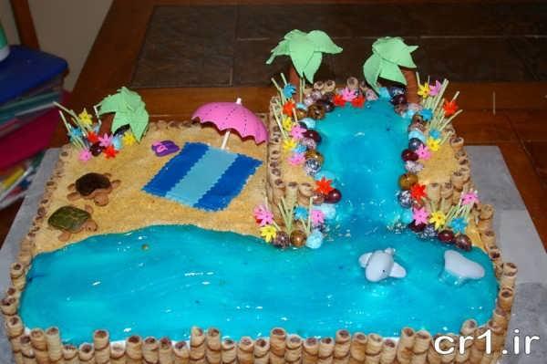 تزیین کیک آکواریومی با ژله