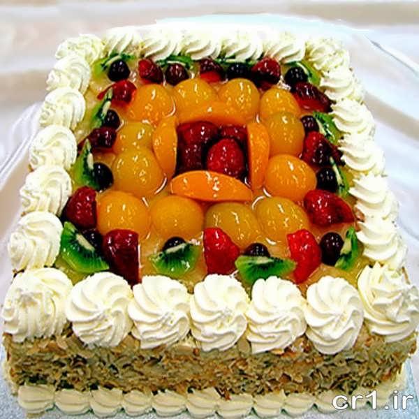تزیین کیک با میو ه و ژله