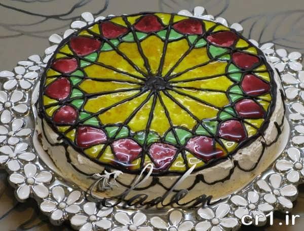 تزیین روی کیک با ژله