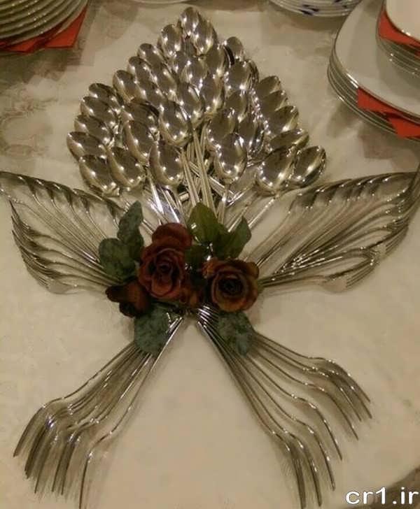 چیدمان قاشق و چنگال برای جشن عروسی