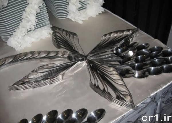 تزیین زیبای قاشق و چنگال برای مهمانی