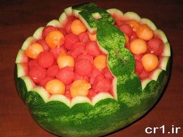 تزیین ساده و زیبای هندوانه برای شب یلدا