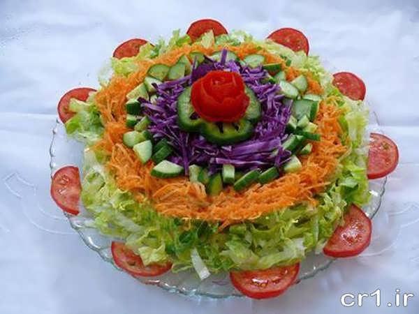 تزیین جدید سالاد کاهو با گوجه و هویج