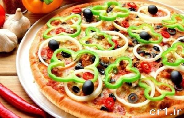 تزیین پیتزا سبزیجات