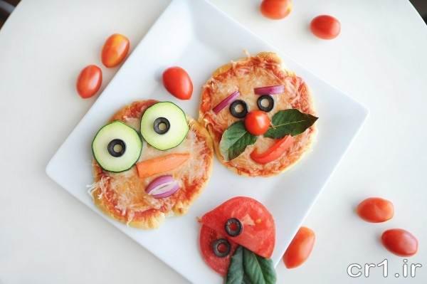 تزیین روی پیتزا برای بچه ها