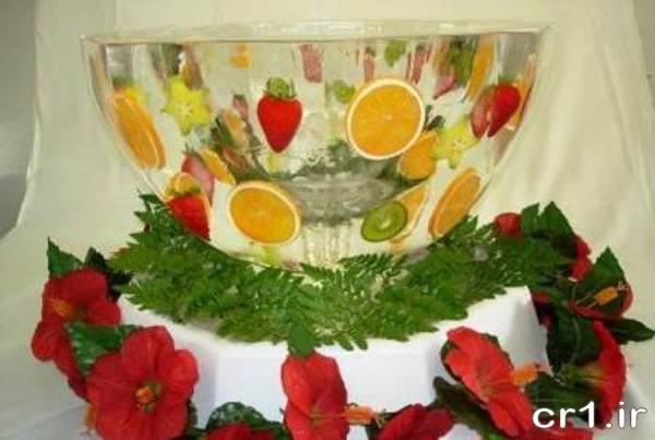 کاسه یخی شفاف با میوه