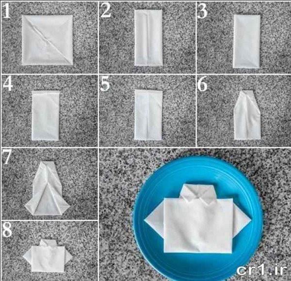 تزیین دستمال به شکل پیراهن