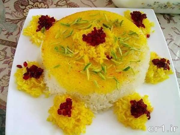 تزیین برنج قالبی مجلسی با زعفران و زرشک