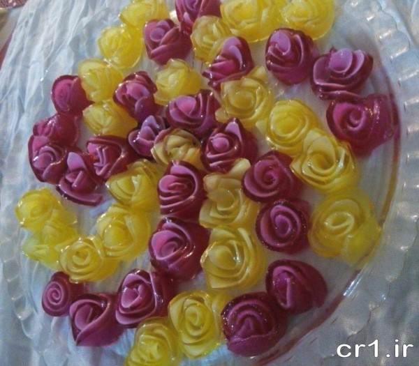 ژله رولی به شکل گل رز