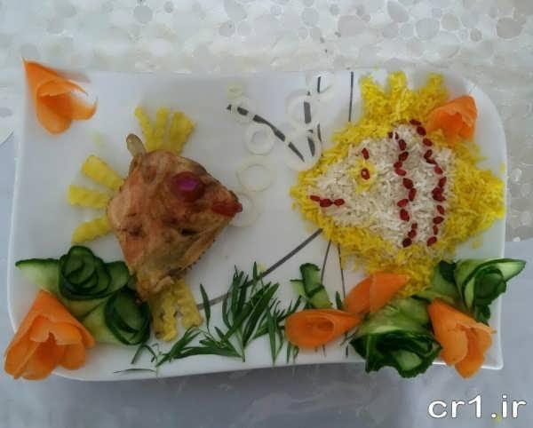 تزیین برنج و مرغ به شکل ماهی