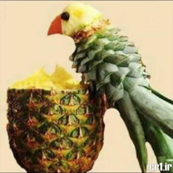 تزیین کردن آناناس به شکل طوطی