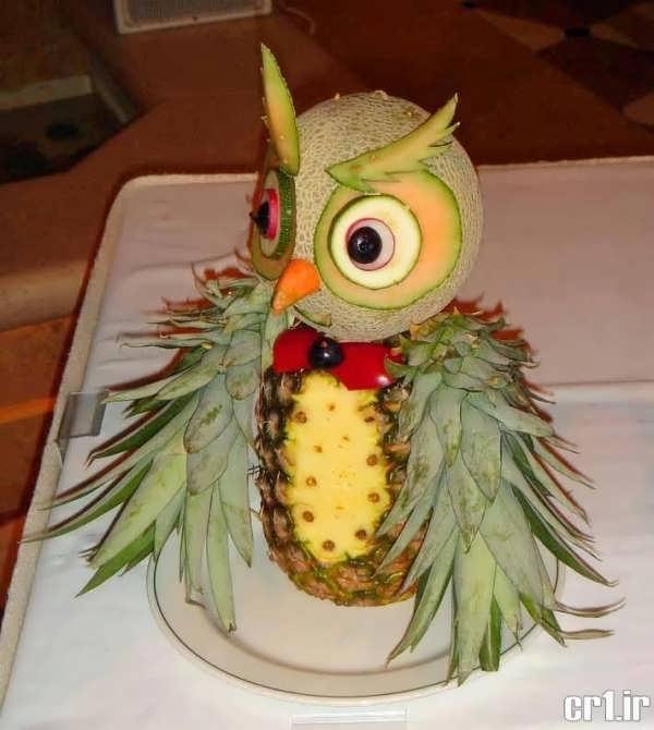 تزیین آناناس به شکل جغد