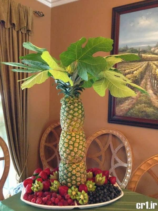 تزیین ساده آناناس برای شب یلدا