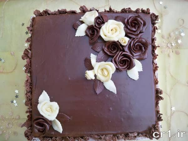 تزیین زیبای کیک با گاناش