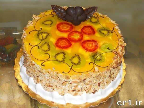 تزیین کیک با ژله و میوه
