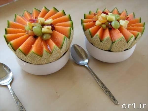 تزیین میوه طالبی برای پذیرایی