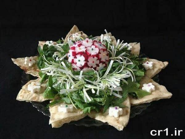 تزیینت جدید نان با پنیر و سبزی