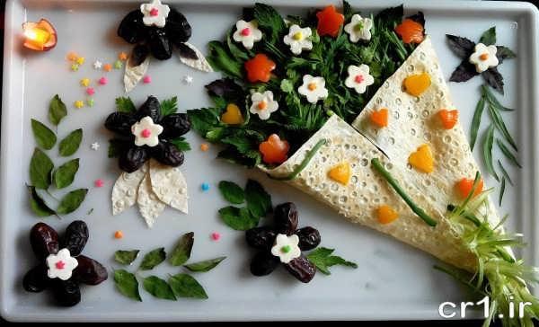 تزیین جدید نون پنیر و خرما