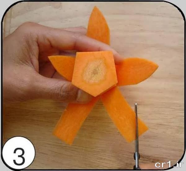 ساخت گل زیبا با هویج