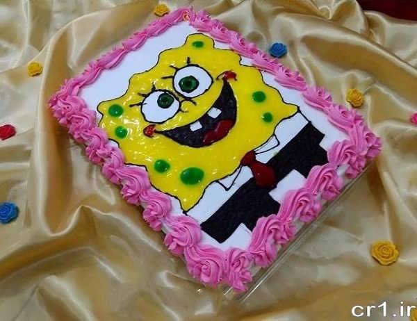 تزیین کیک باب اسفنجی با ژله