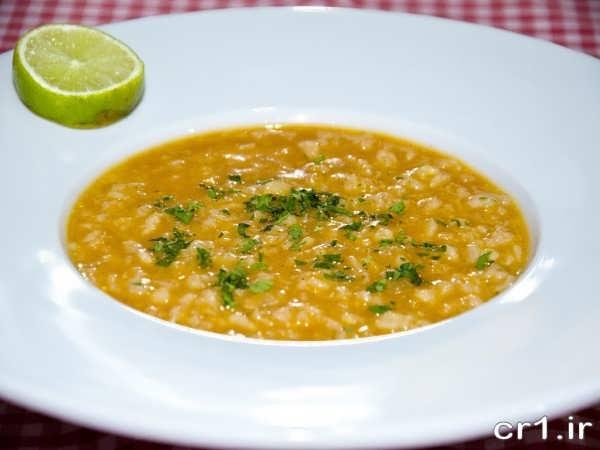 تزیین ساده ظرف سوپ جو