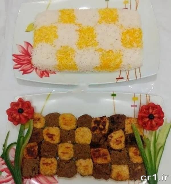 تزیین کباب تابه ای مرغ