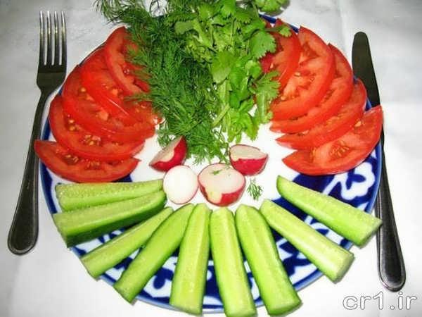 تزیین زیبای خیار و گوجه