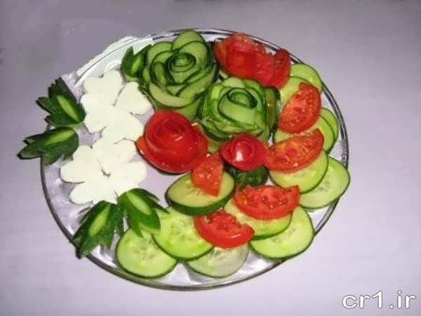 تزیین خیار و گوجه با پنیر