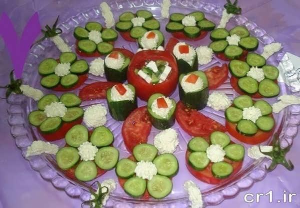 تزیین خیار گوجه با پنیر