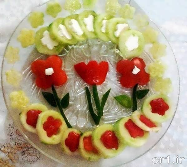 تزیین ساده و زیبای خیار و گوجه
