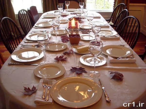 تزیین ساده میز شام
