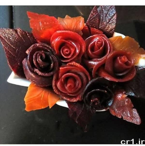 تزیین لواشک به شکل گل رز