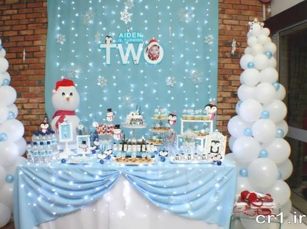 تزیینات میز تولد با تم زمستانی