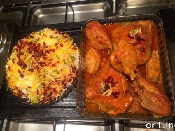 تزیین خورشت مرغ برای مهمانی