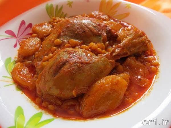 تزیین ساده خورشت مرغ