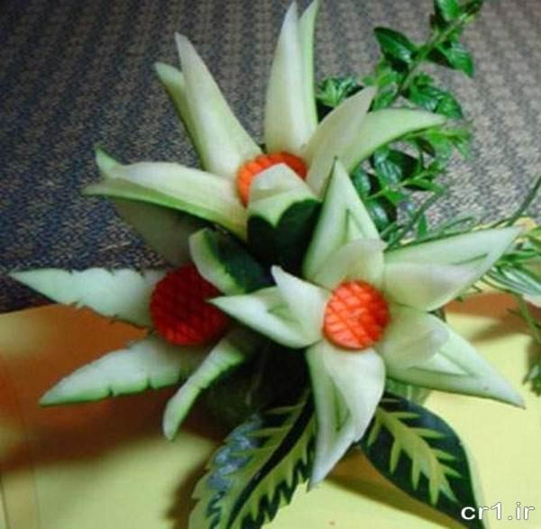 تزیینات جدید خیار به شکل گل