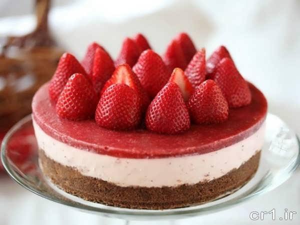 تزیین جدید چیز کیک با توت فرنگی