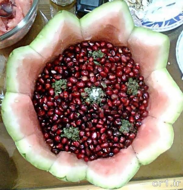 تزییم زیبای انار دون شده برای شب یلدا