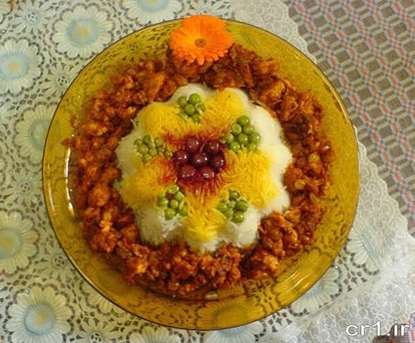 تزیین برنج و خورشت مجلسی