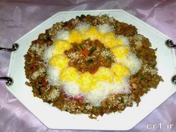 تزیین برنج برای مهمانی