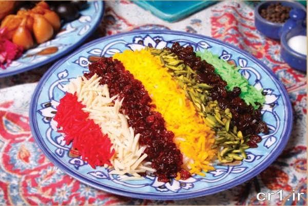 تزیین برنج چند رنگ برای مجلس