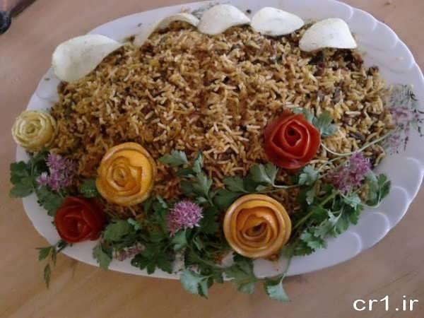 تزیین برنج مخلوط برای مجلس