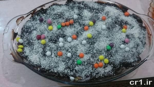 تزیین روی دسر با شکلات